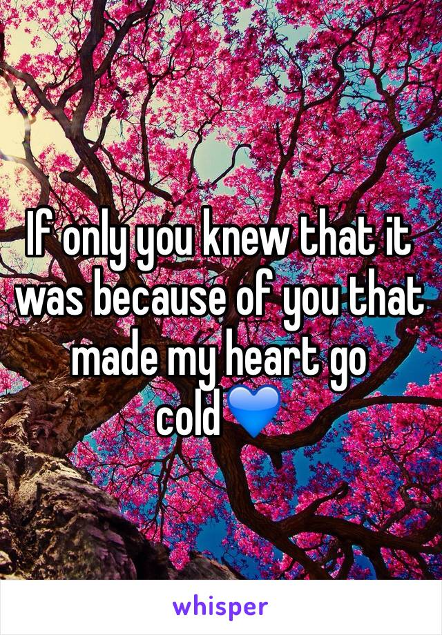 If only you knew that it was because of you that made my heart go cold💙