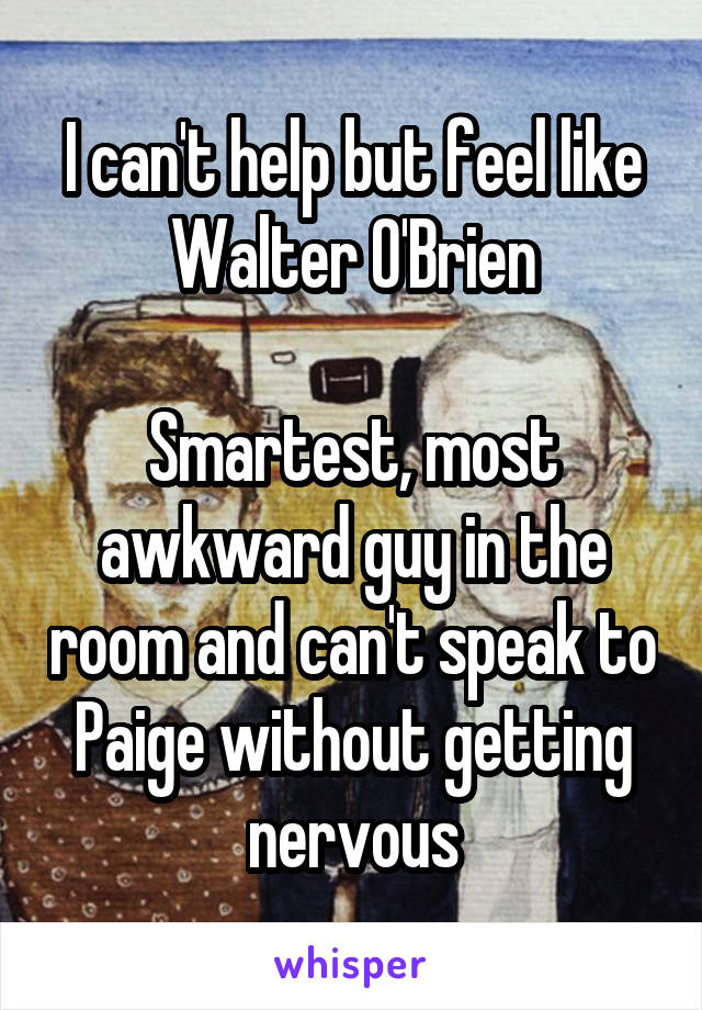 I can't help but feel like Walter O'Brien  Smartest, most awkward guy in the room and can't speak to Paige without getting nervous