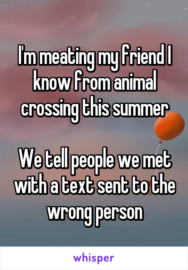 I'm meating my friend I know from animal crossing this summer  We tell people we met with a text sent to the wrong person