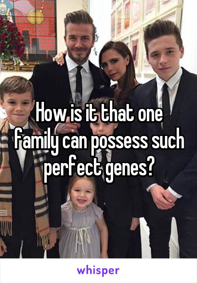 How is it that one family can possess such perfect genes?