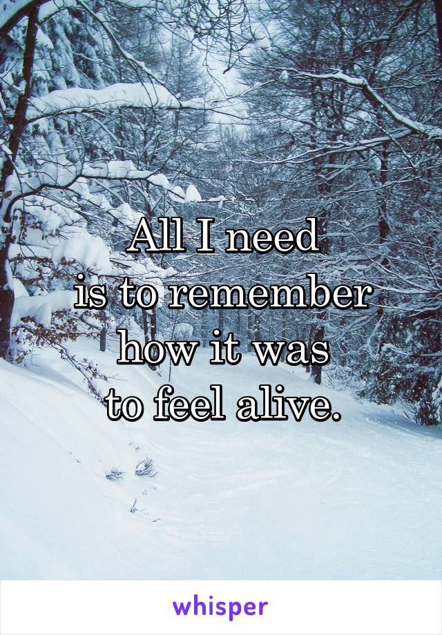 All I need is to remember how it was to feel alive.