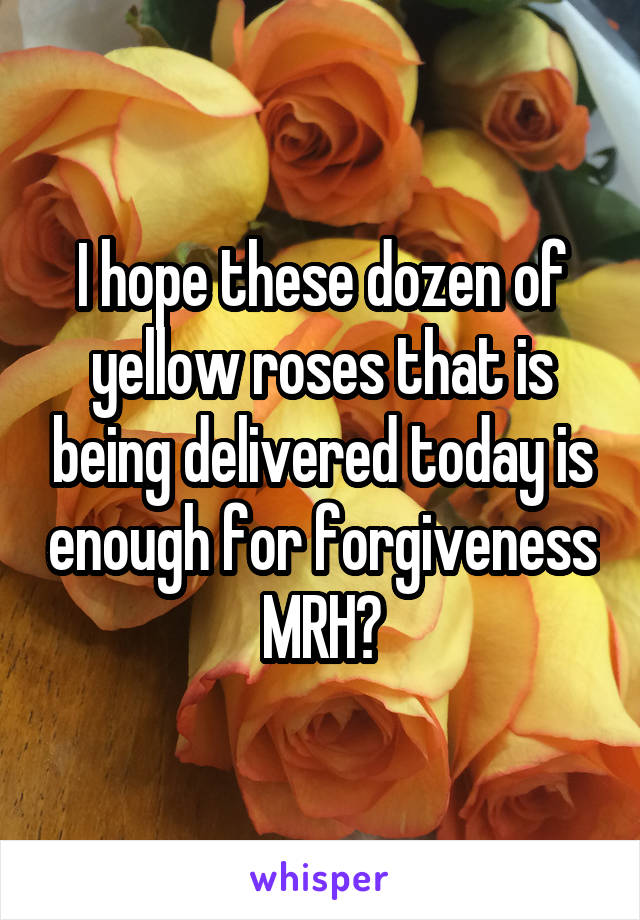 I hope these dozen of yellow roses that is being delivered today is enough for forgiveness MRH?