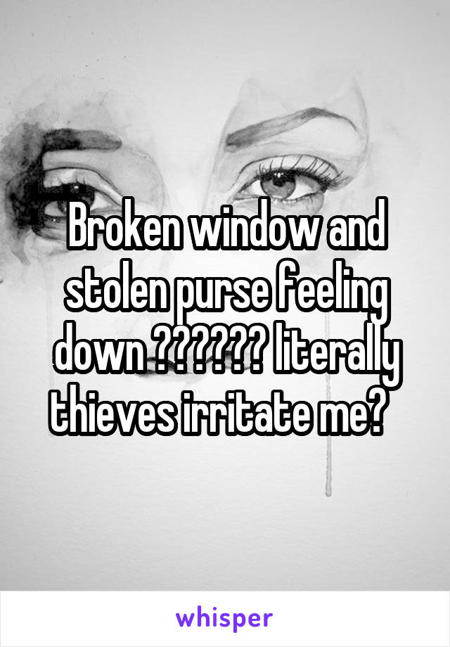 Broken window and stolen purse feeling down 👎🏻👎🏻👎🏻 literally thieves irritate me😡