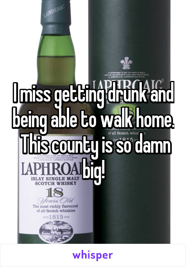 I miss getting drunk and being able to walk home.  This county is so damn big!