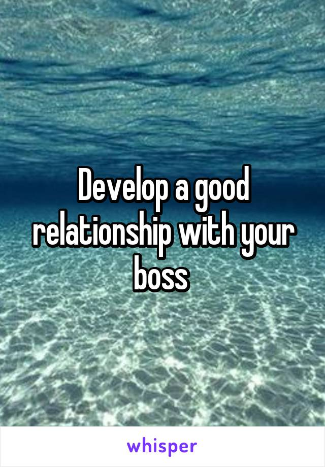 Develop a good relationship with your boss