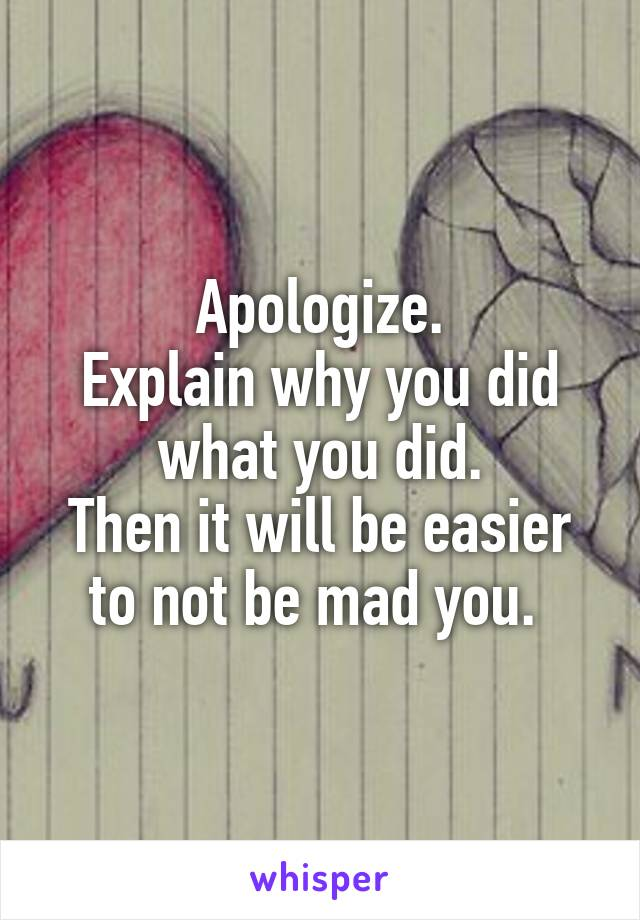 Apologize. Explain why you did what you did. Then it will be easier to not be mad you.