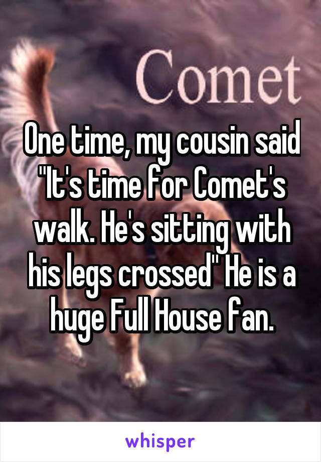 """One time, my cousin said """"It's time for Comet's walk. He's sitting with his legs crossed"""" He is a huge Full House fan."""