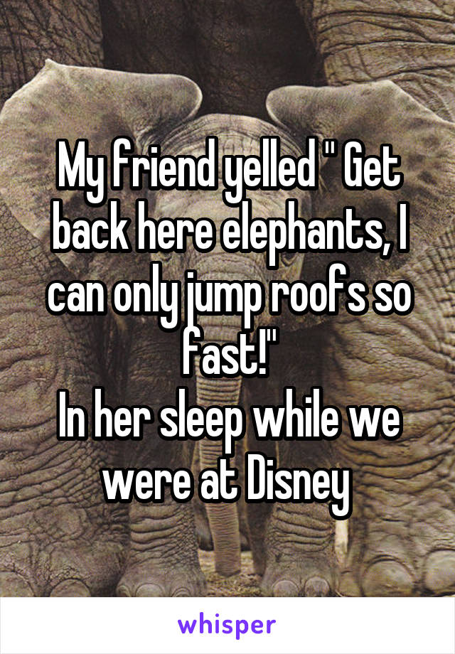 "My friend yelled "" Get back here elephants, I can only jump roofs so fast!"" In her sleep while we were at Disney"