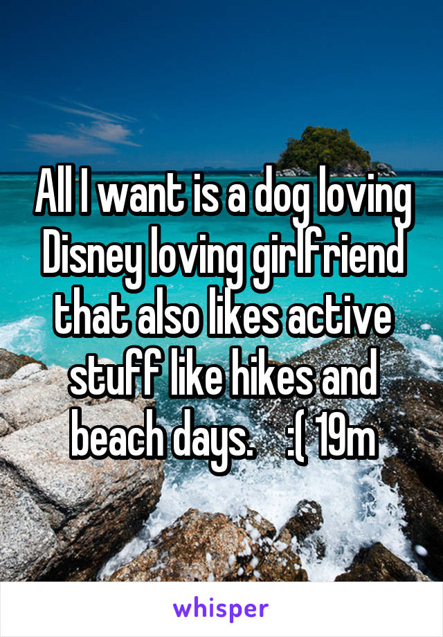 All I want is a dog loving Disney loving girlfriend that also likes active stuff like hikes and beach days.    :( 19m