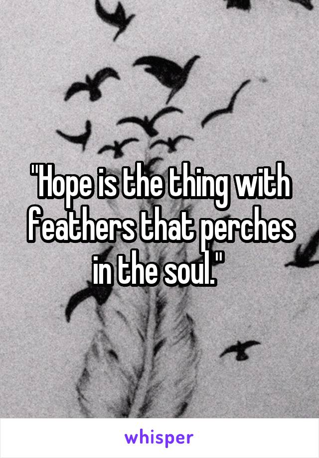 """""""Hope is the thing with feathers that perches in the soul."""""""