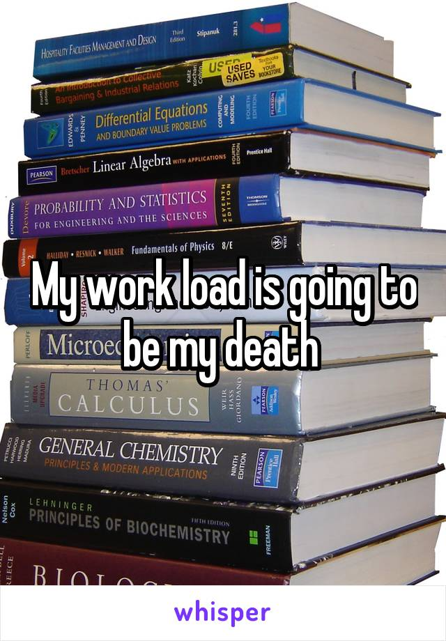 My work load is going to be my death
