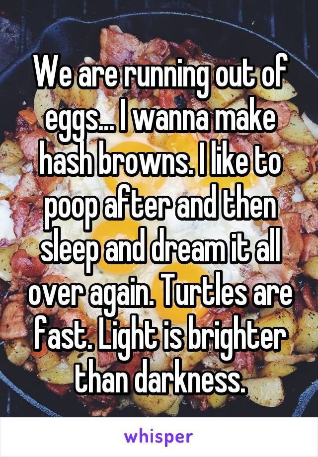 We are running out of eggs... I wanna make hash browns. I like to poop after and then sleep and dream it all over again. Turtles are fast. Light is brighter than darkness.