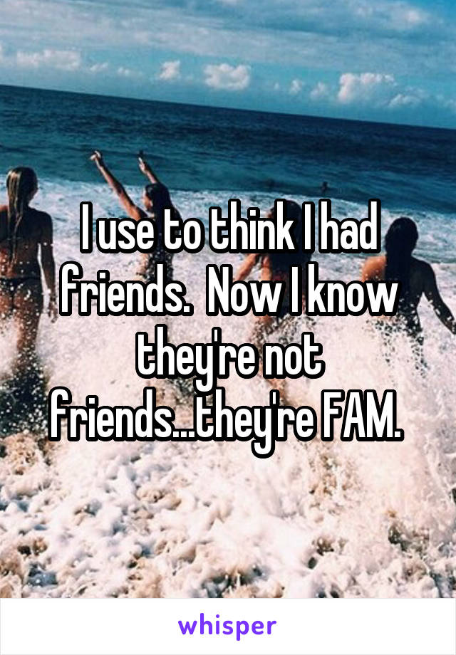 I use to think I had friends.  Now I know they're not friends...they're FAM.