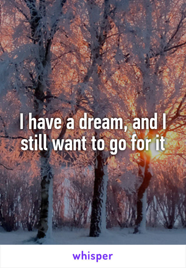 I have a dream, and I still want to go for it