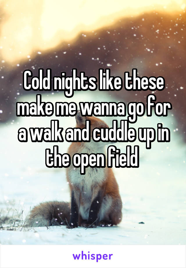 Cold nights like these make me wanna go for a walk and cuddle up in the open field