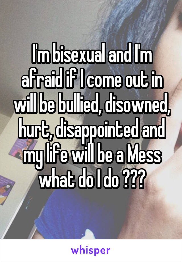I'm bisexual and I'm afraid if I come out in will be bullied, disowned, hurt, disappointed and my life will be a Mess what do I do 😦😓😿