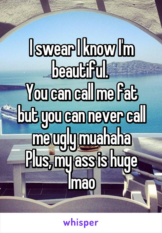 I swear I know I'm beautiful.  You can call me fat but you can never call me ugly muahaha Plus, my ass is huge lmao