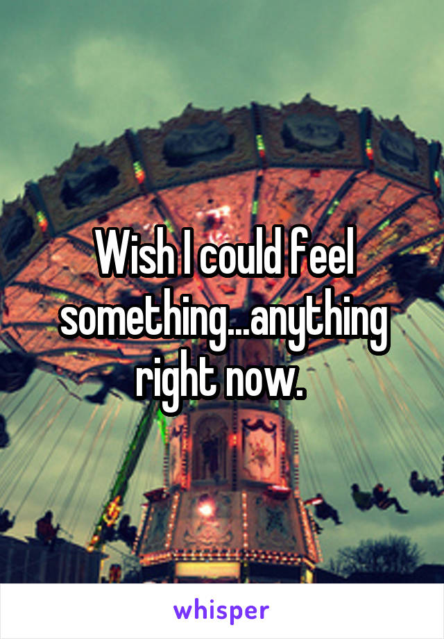 Wish I could feel something...anything right now.