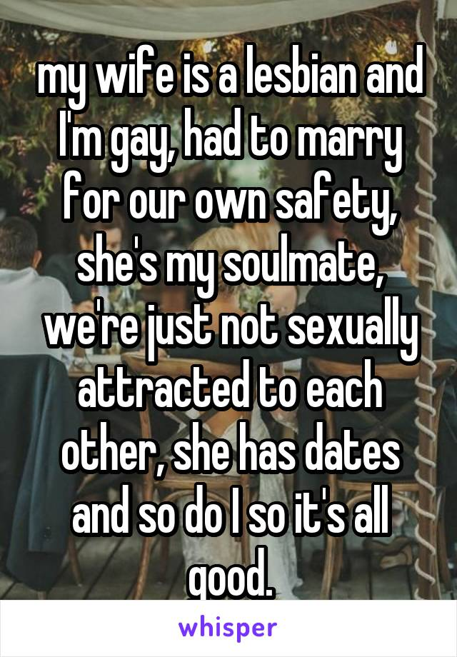 my wife is a lesbian and I'm gay, had to marry for our own safety, she's my soulmate, we're just not sexually attracted to each other, she has dates and so do I so it's all good.