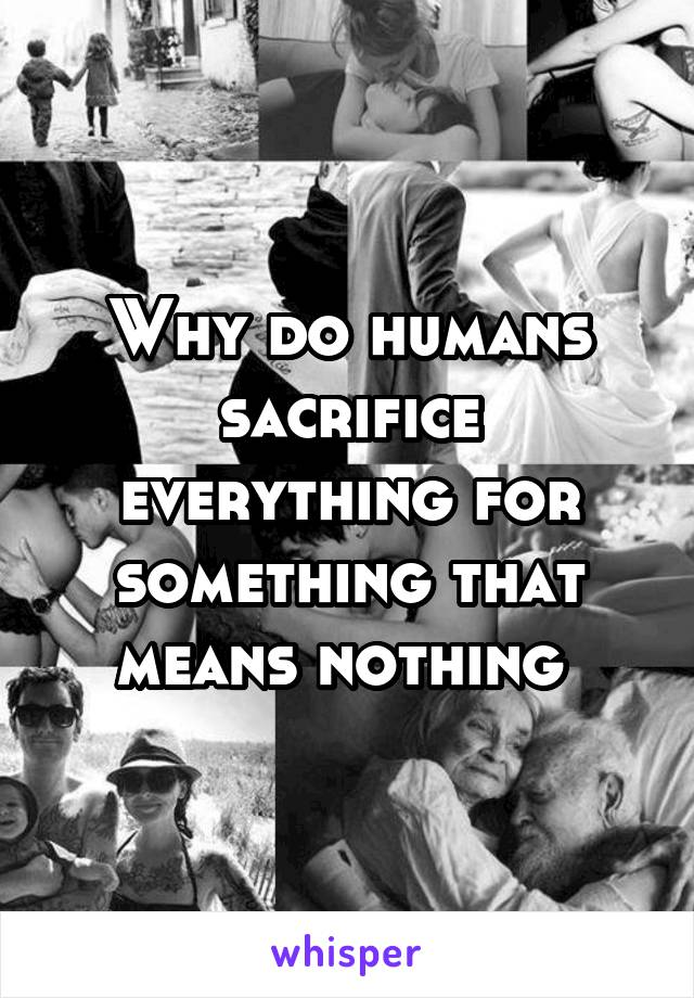Why do humans sacrifice everything for something that means nothing