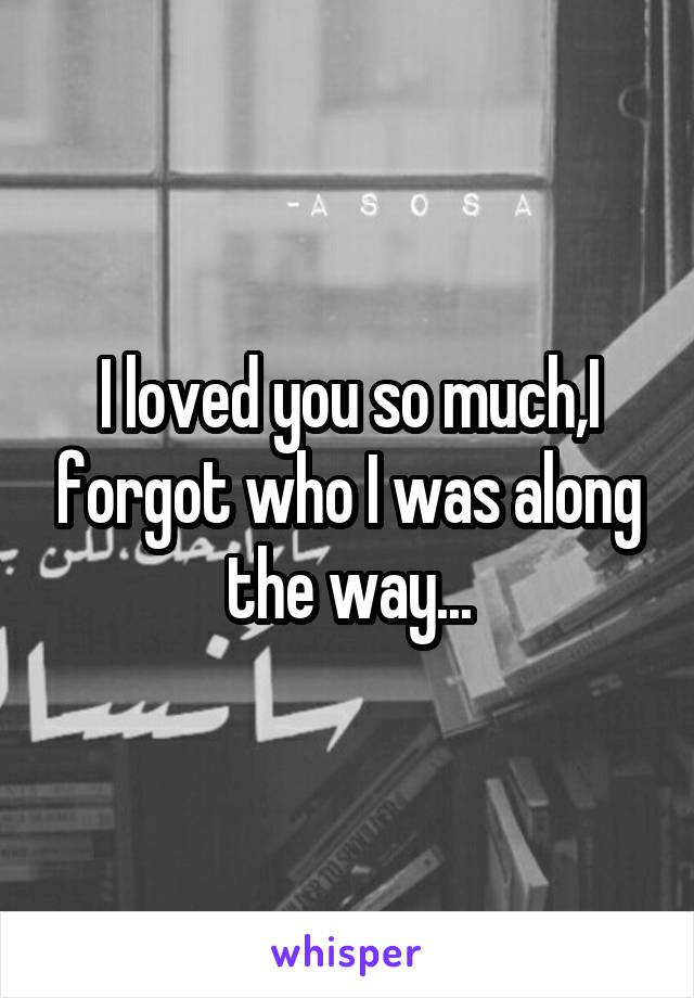I loved you so much,I forgot who I was along the way...