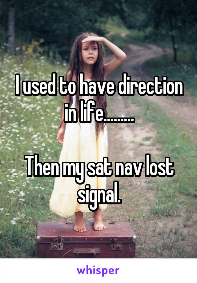 I used to have direction in life.........  Then my sat nav lost signal.