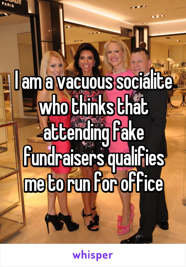 I am a vacuous socialite who thinks that attending fake fundraisers qualifies me to run for office