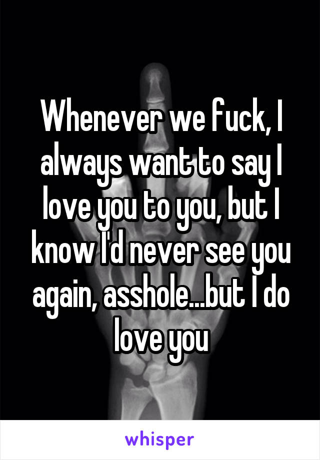 Whenever we fuck, I always want to say I love you to you, but I know I'd never see you again, asshole...but I do love you