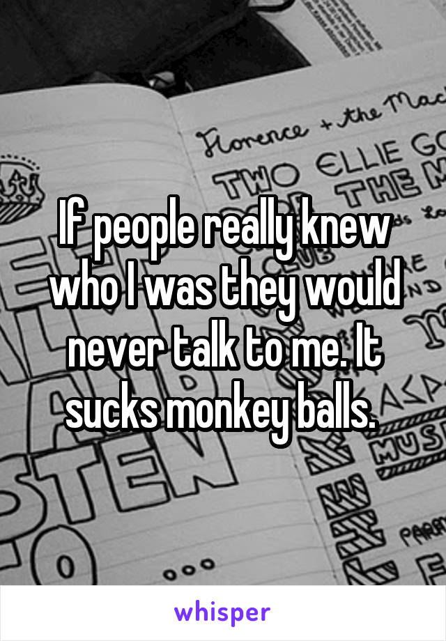 If people really knew who I was they would never talk to me. It sucks monkey balls.