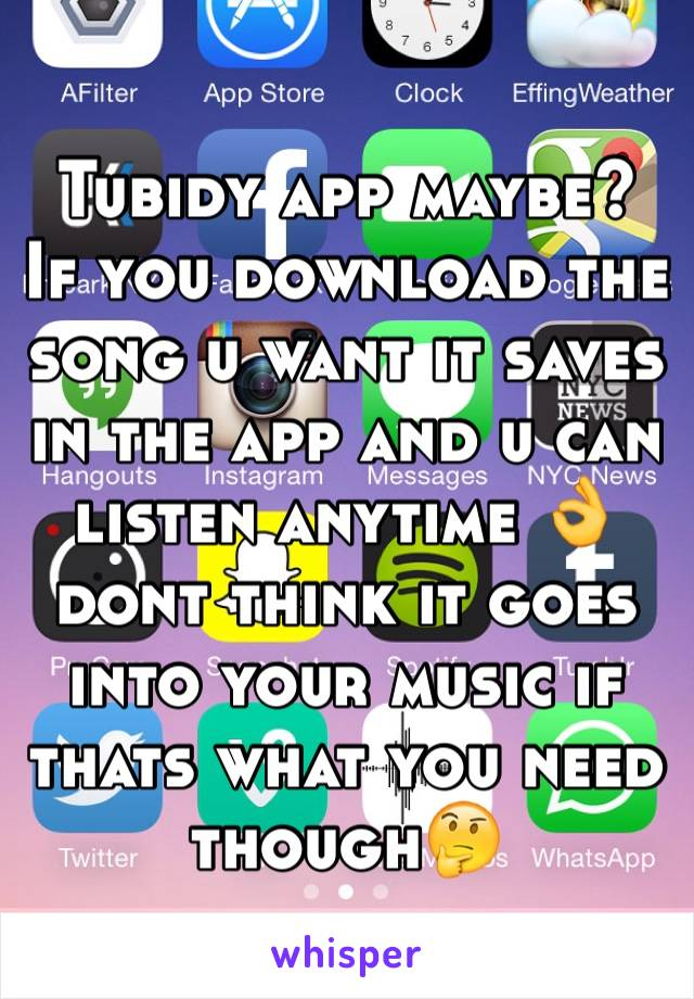 Tubidy app maybe? If you download the song u want it saves