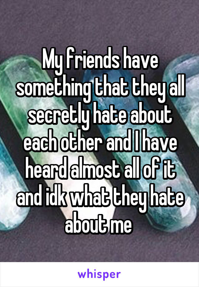 My friends have something that they all secretly hate about each other and I have heard almost all of it and idk what they hate about me