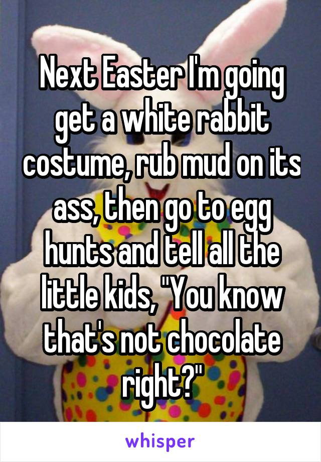 """Next Easter I'm going get a white rabbit costume, rub mud on its ass, then go to egg hunts and tell all the little kids, """"You know that's not chocolate right?"""""""