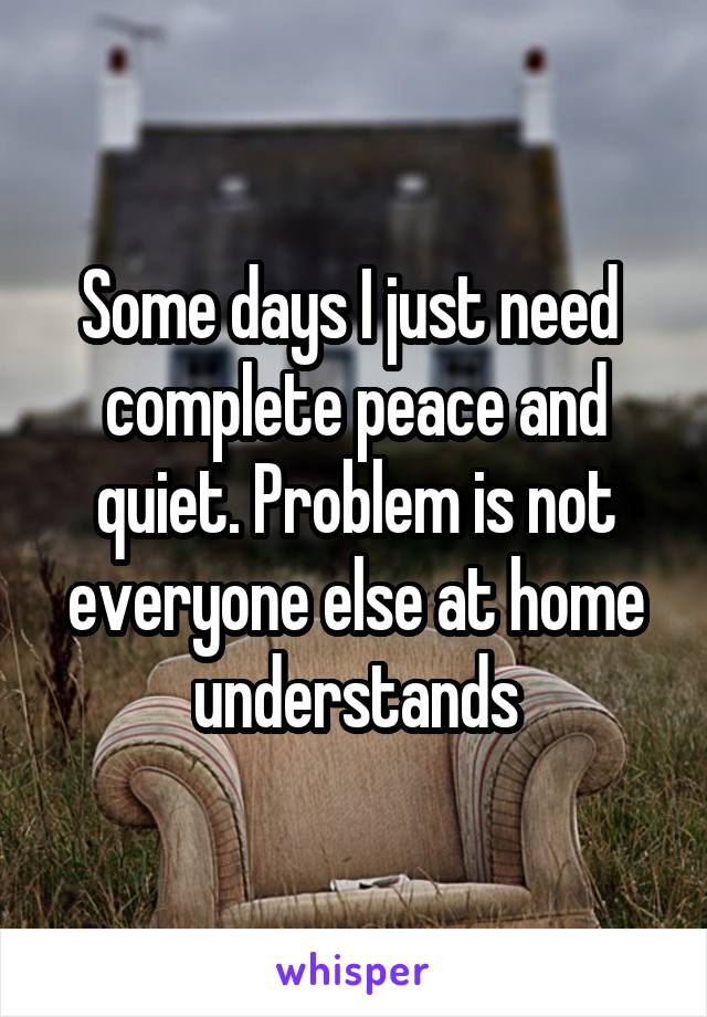Some days I just need  complete peace and quiet. Problem is not everyone else at home understands