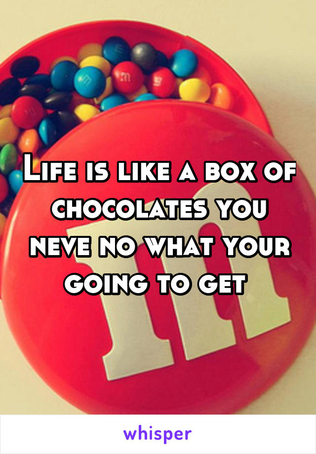 Life is like a box of chocolates you neve no what your going to get