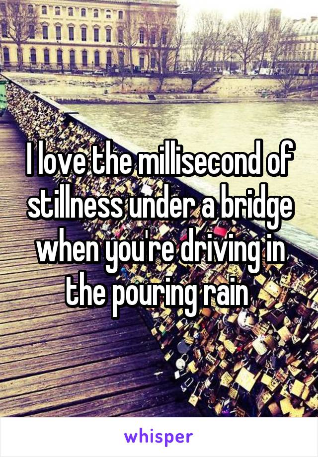 I love the millisecond of stillness under a bridge when you're driving in the pouring rain