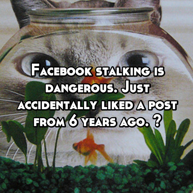 Facebook stalking is dangerous. Just accidentally liked a post from 6 years ago. 🤗