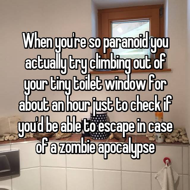 When you're so paranoid you actually try climbing out of your tiny toilet window for about an hour just to check if you'd be able to escape in case of a zombie apocalypse