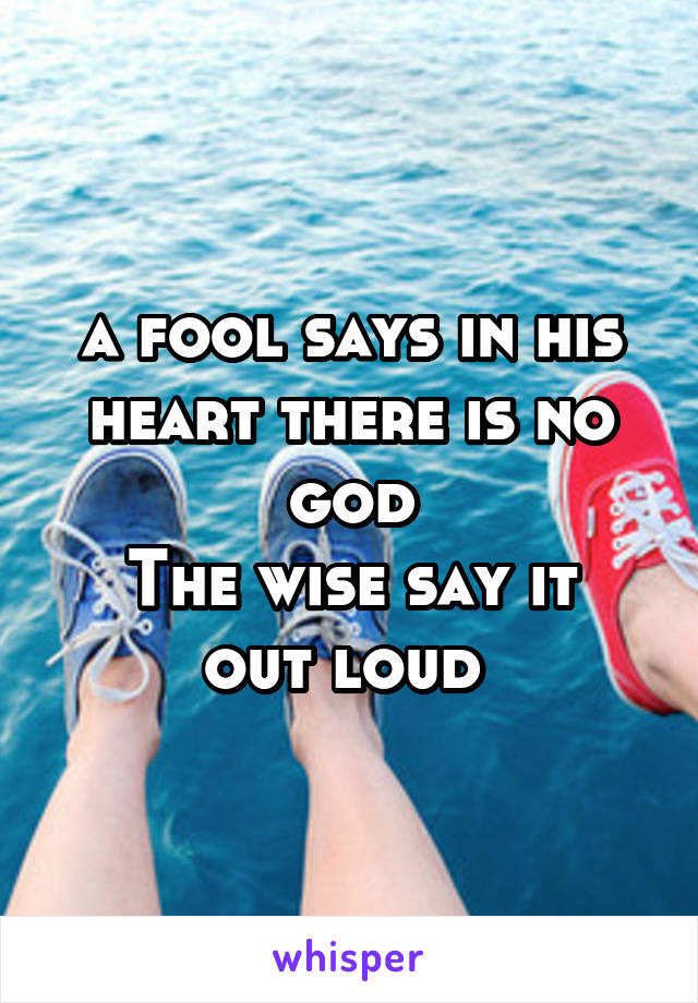 a fool says in his heart there is no god The wise say it out loud