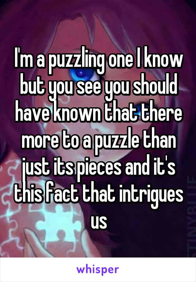 I'm a puzzling one I know but you see you should have known that there more to a puzzle than just its pieces and it's this fact that intrigues us