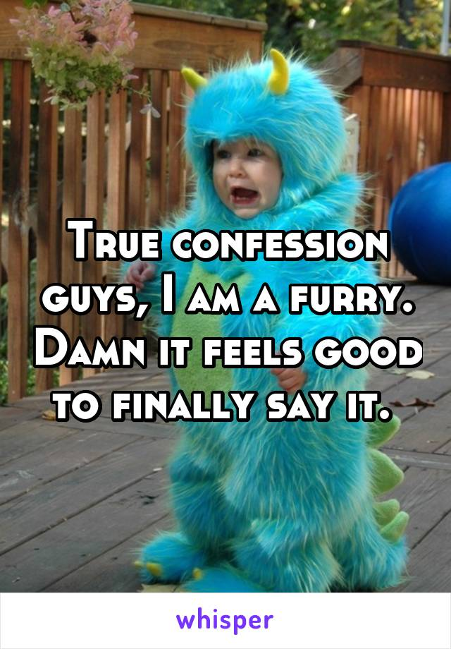 True confession guys, I am a furry. Damn it feels good to finally say it.