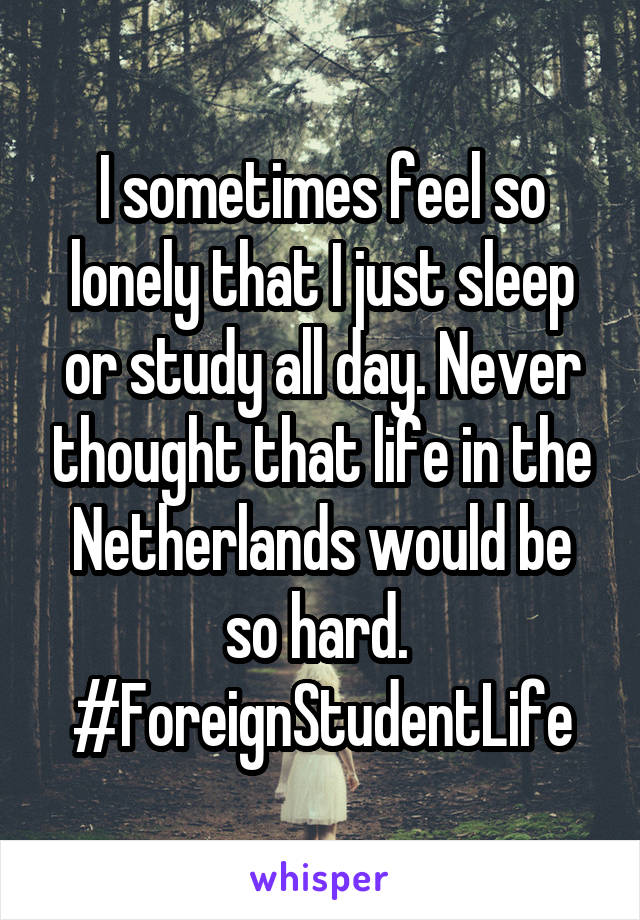I sometimes feel so lonely that I just sleep or study all day. Never thought that life in the Netherlands would be so hard.  #ForeignStudentLife