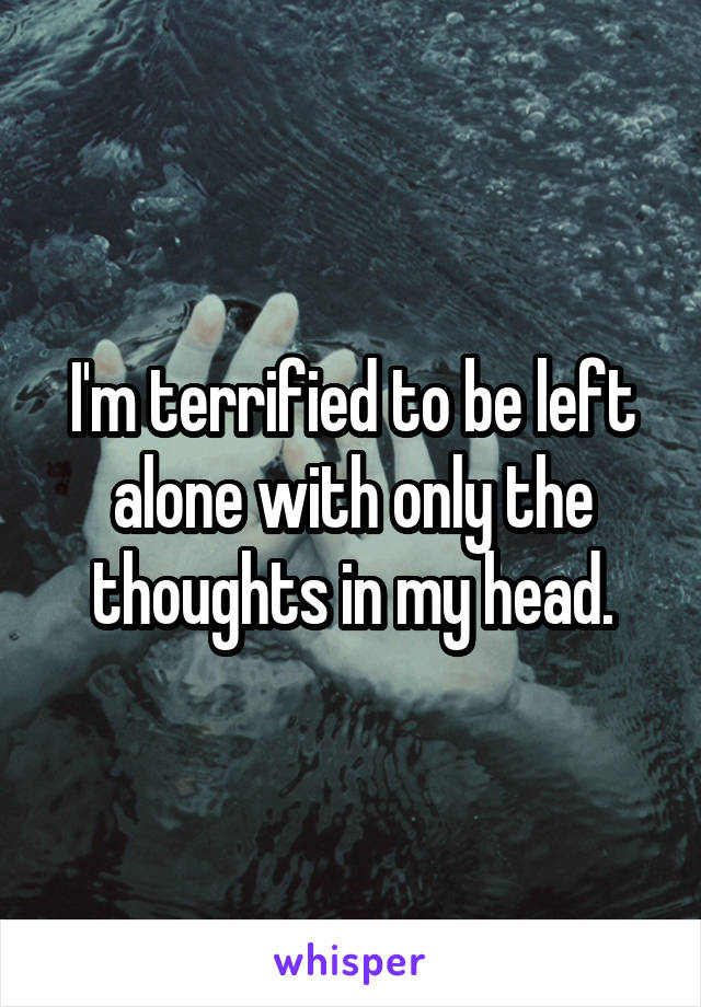 I'm terrified to be left alone with only the thoughts in my head.