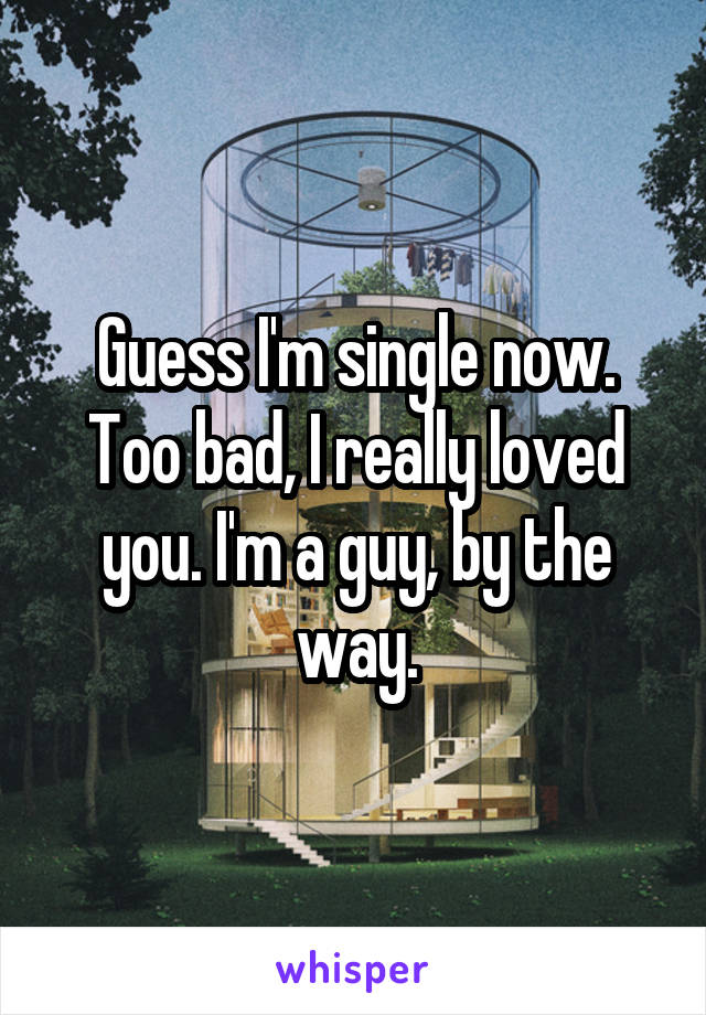 Guess I'm single now. Too bad, I really loved you. I'm a guy, by the way.