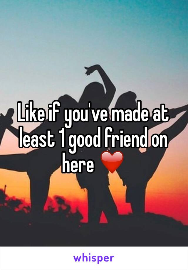 Like if you've made at least 1 good friend on here ❤️