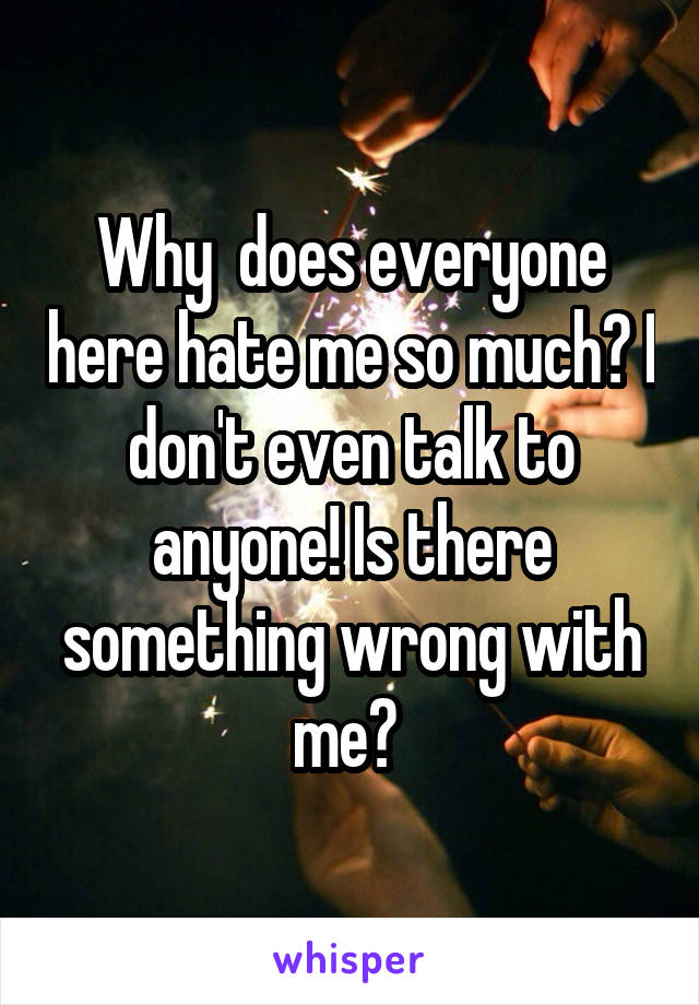 Why  does everyone here hate me so much? I don't even talk to anyone! Is there something wrong with me?