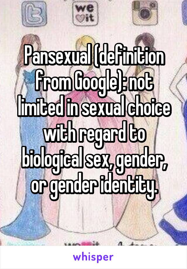 Google define pansexual