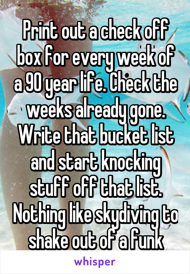print out a check off box for every week of a 90 year life check