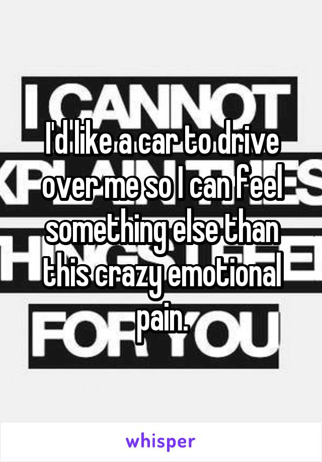 I'd like a car to drive over me so I can feel something else than this crazy emotional pain.