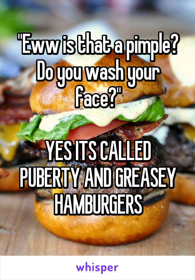 """""""Eww is that a pimple? Do you wash your face?""""  YES ITS CALLED PUBERTY AND GREASEY HAMBURGERS"""
