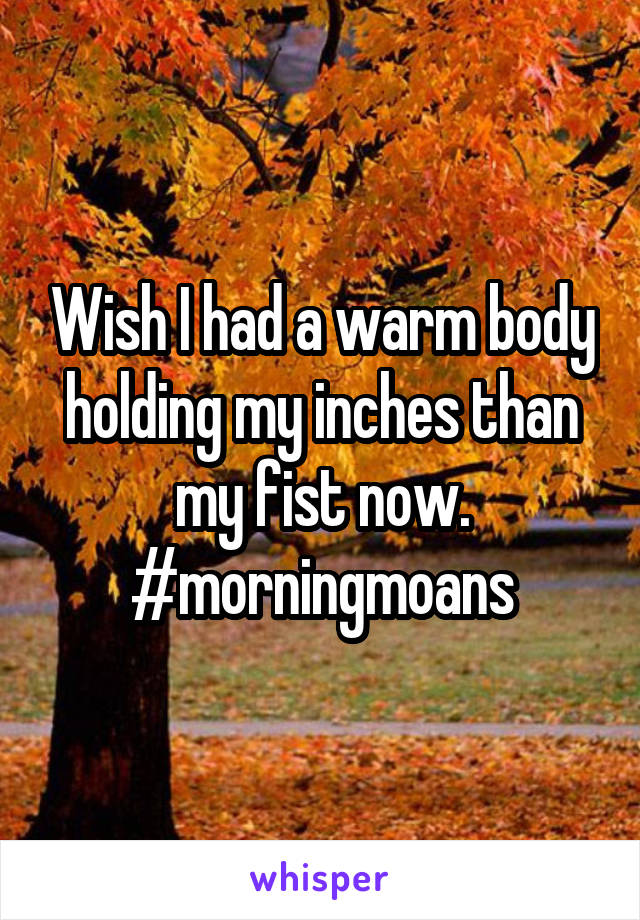 Wish I had a warm body holding my inches than my fist now. #morningmoans
